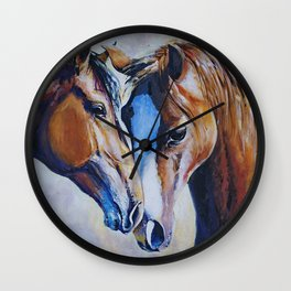 Large water colour Horse colourful bedroom Framed Canvas Print Wall Art , Poster , nursery painting Wall Clock