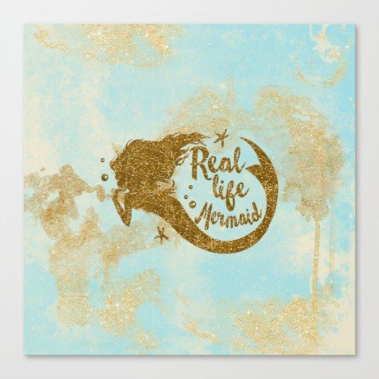 Real life Mermaid - Gold glitter lettering on aqua glittering background Canvas Print