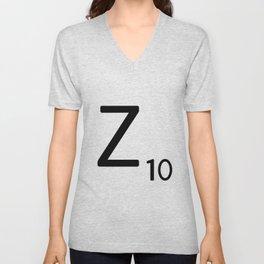 Letter Z - Custom Scrabble Letter Tile Art - Scrabble Z Initial Unisex V-Neck