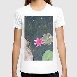 Pink Lotus Bloom in Pond T-shirt