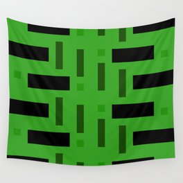 Pattern of Squares in deep Green Wall Tapestry