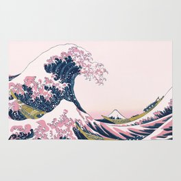 The Great Pink Wave off Kanagawa Rug