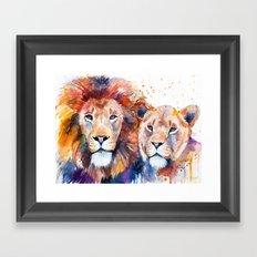 Lion Lioness Love Framed Art Print