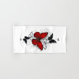 Red and Black Butterflies Hand & Bath Towel