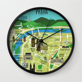 Prague map illustrated Wall Clock