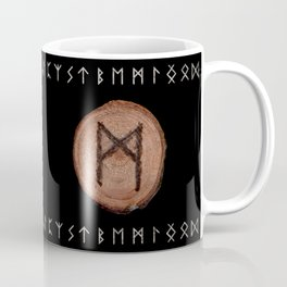 Mannaz - Wooden Celtic Rune of self, individuals, universe, family, loved ones, friends, devoted Coffee Mug