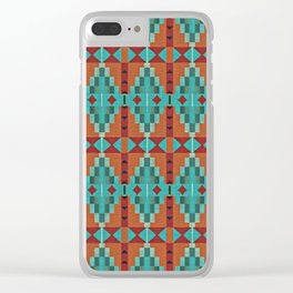 Orange Red Aqua Turquoise Teal Native Mosaic Pattern Clear iPhone Case
