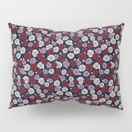 Roses in navy blue, orchid and burgundy red Pillow Sham