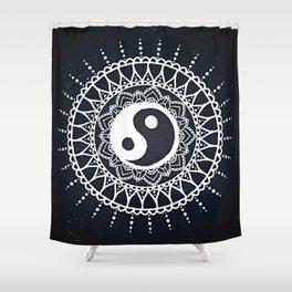 Yin Yang Mandala / White Mandala over stars Shower Curtain