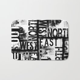 East South North West Black White Grunge Typography Bath Mat