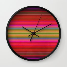 Colorful pink red green geometrical stripes Wall Clock