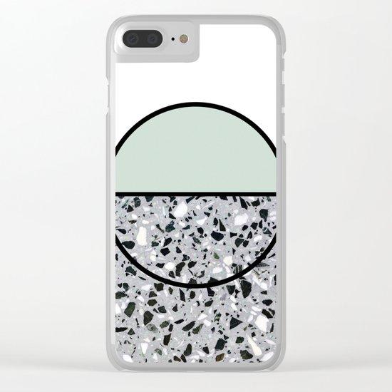 Minimal Modern Terrazzo Pattern Design Mint Green Clear iPhone Case