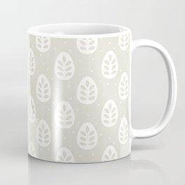 Abstract blush gray white polka dots leaves illustration Coffee Mug