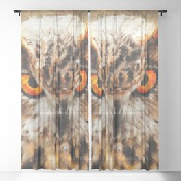 owl look digital painting orcstd Sheer Curtain
