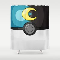 pokeball Shower Curtains featuring Moon Pokeball by Amandazzling