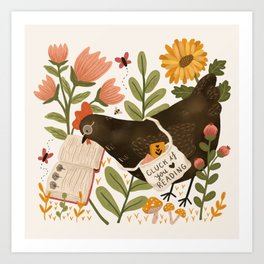 Chicken Reading a Book Art Print