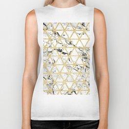 Stylish white marble faux gold glitter triangles pattern Biker Tank