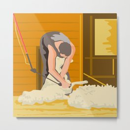 Farmer Farmworker Shearing Sheep WPA Metal Print