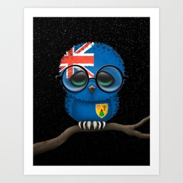 Baby Owl with Glasses and Turks and Caicos Flag Art Print