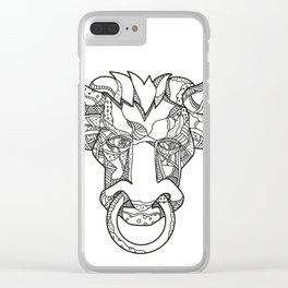 Pinzgauer Bull Head Front Doodle Art Clear iPhone Case