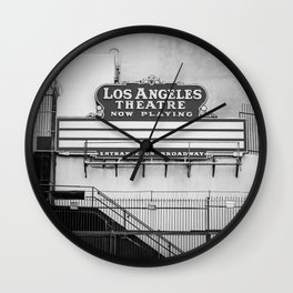 Los Angeles Theatre, Downtown Los Angeles Black and White Photography Wall Clock