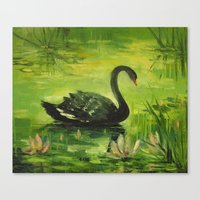 black swan Canvas Prints featuring Black Swan by OLHADARCHUK