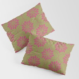 Weave Texture Large Flower Pattern - Olive Green Deep Pink Pillow Sham
