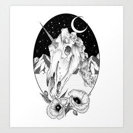 Unicorn skull of night Art Print