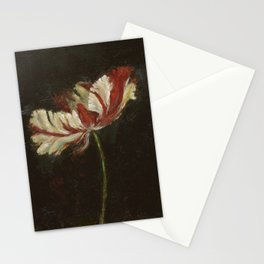 Flaming Red and White Parrot Tulip Stationery Cards