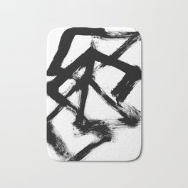 Brushstroke 5 - a simple black and white ink design Bath Mat