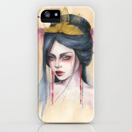 Amaya - Japanese inspired portrait painting iPhone Case