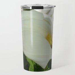 A Large Single White Calla Lily Flower Travel Mug