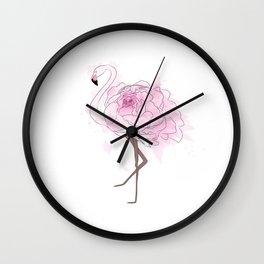 Pink Rose Flamingo Wall Clock