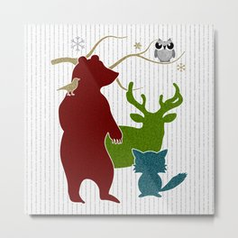 Peace on Earth Woodland Creatures Holiday Stamp Style Metal Print