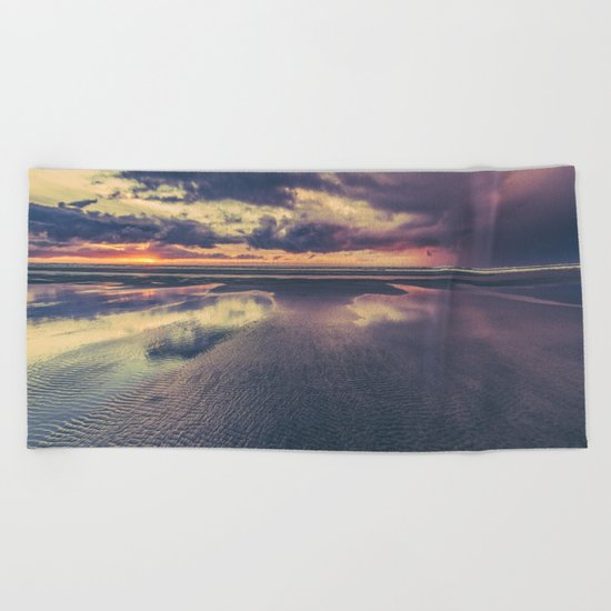 Stormy Beach Sunset Beach Towel