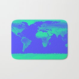 World Map Periwinkle Blue Mint Bath Mat