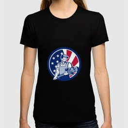 American Plumber and Pipefitter USA Flag Icon T-shirt