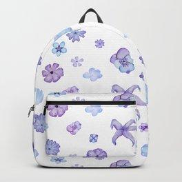 Purple Watercolor Floral Pattern Backpack