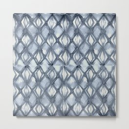 Braided Diamond Indigo Blue on Lunar Gray Metal Print