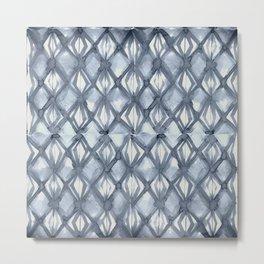 Braided Diamond Indigo Blue on Lunar Gray Metal Print