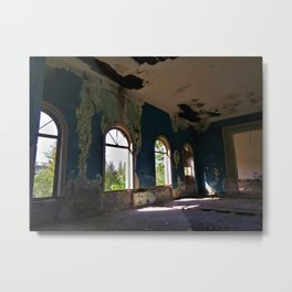 Happy Sunny Day - abandoned hotel with blue walls photo Metal Print