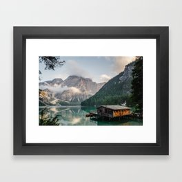 Mountain Lake Cabin Retreat Framed Art Print