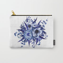 Blue China Porcelain, Flower, Floral Carry-All Pouch