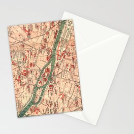 Vintage Map of Paris France (1910) Stationery Cards