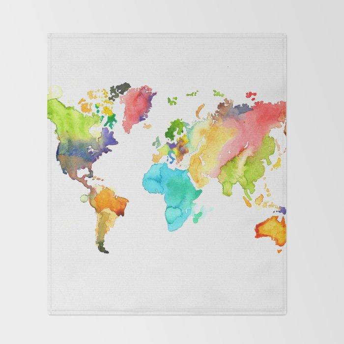 Watercolor World Throw Blanket