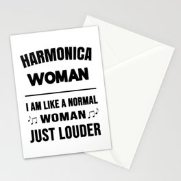 Harmonica Woman Like A Normal Woman Just Louder Stationery Cards