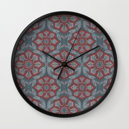 """Flowers and laurels"" arabesque pattern in grey and red colours, bohemian style Wall Clock"