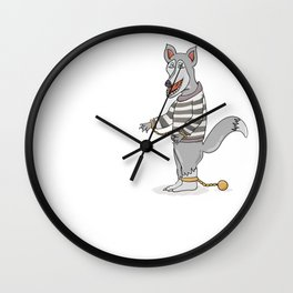 wolf with chains in striped shirt Wall Clock