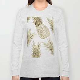 Gold Pineapple Bling Long Sleeve T-shirt