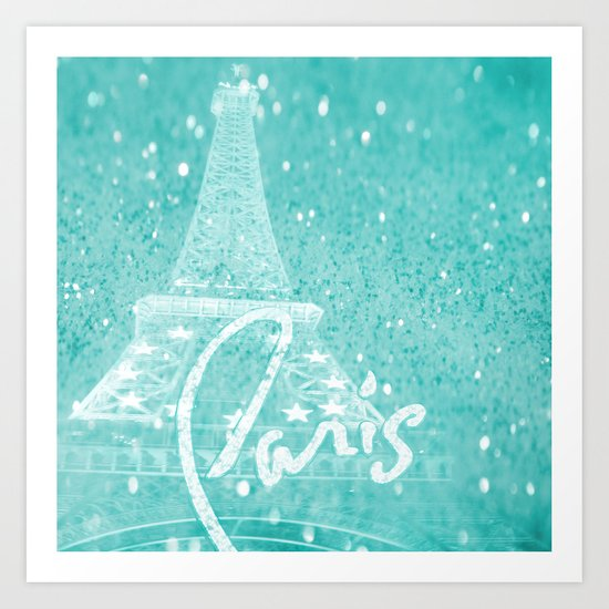 Paris in Aqua Art Print